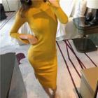 Mock-turtleneck Ribbed Knit Slit Sheath Dress