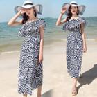 Patterned Strapless Midi Chiffon Dress