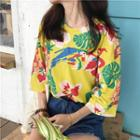 Elbow-sleeve Floral Print Top
