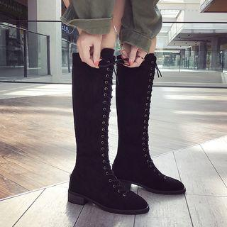 Faux Suede Low Heel Knee-high Boots