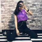 Lettering Cropped Sleeveless Hoodie