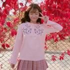 Long-sleeve Mock-neck Floral Embroidery Top