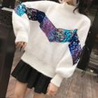 Mock-neck Sequined Sweater