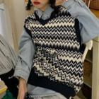 Denim Shirt / V-neck Patterned Knit Vest