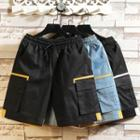 Contrast Color Drawstring-waist Cargo Shorts
