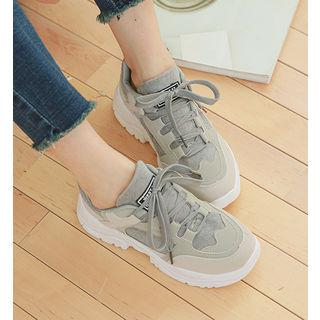 Color-block Faux-suede Sneakers