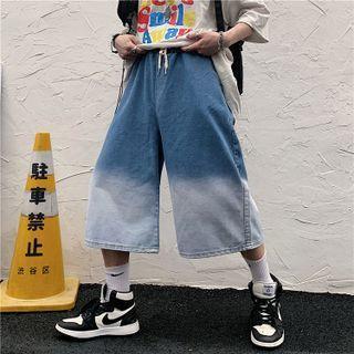 Gradient Wide Leg Capri Jeans