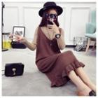 Frill Trim Sleeveless Midi Knit Dress