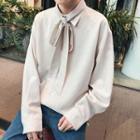 Long-sleeve Ribbon Plaid Shirt