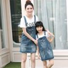 Mother And Daughter Matching Distressed Washed Denim Pinafore Dress