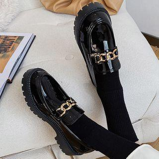Chunky Chain Patent Loafers