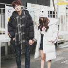 Couple Matching Striped Hooded Padded Jacket