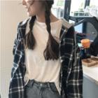 Hooded Plaid Long-sleeve Shirt