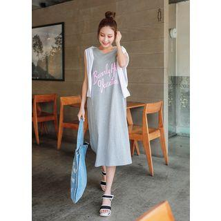 Sleeveless Lettering Long Dress