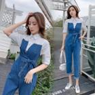 Denim Panel Elbow-sleeve Cropped Jumpsuit