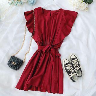 Frill-hem Tie-waist Dress