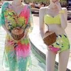 Printed Shirred Bikini Set