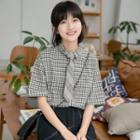 Plaid Short-sleeve Shirt With Tie Plaid Shirt & Tie - One Size