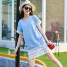 Short-sleeve Crochet-panel Dress
