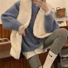 Plain Sweater / Fleece Open-front Vest