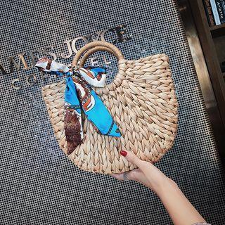 Woven Bucket Bag Khaki - One Size