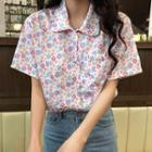 Floral Print Short-sleeve Blouse As Shown In Figure - One Size
