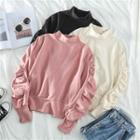 Ruched Puff-sleeve Pullover