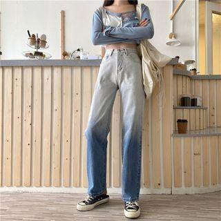 High-waist Washed Two Tone Wide Leg Jeans