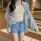 Long-sleeve Plaid Shirt Plaid Shirt - One Size