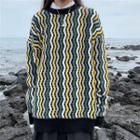 Wavy Striped Boxy Sweater As Shown In Figure - One Size