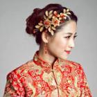 Bridal Set: Flower Headpiece + Beaded Earrings
