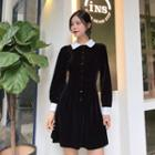 Velour Buttoned Shirtdress