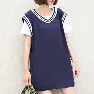 Sleeveless Contrast Trim Mini T-shirt Dress