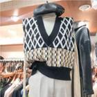 Argyle Knit Vest Black - One Size