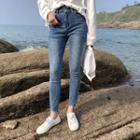 Asymmetric Denim Skinny Pants