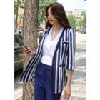 Collarless Stripe Linen Blend Blazer