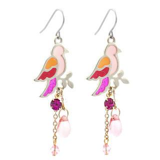 Pink Glitter Bird Earrings