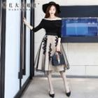 Tulle Overlay Embroidery A-line Skirt