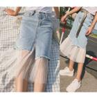 Sheer Panel Midi Denim Skirt