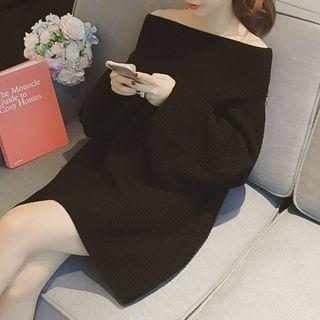 Long-sleeve Off Shoulder Knitted A-line Dress