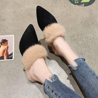 High Heel Furry Trim Mules