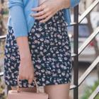 Zip-back Floral Print Pencil Skirt
