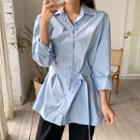 Round-hem Long Shirt With Belt