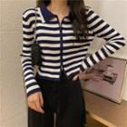 Collared Striped Zip Knit Cardigan