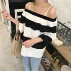 Striped Off-shoulder 3/4 Sleeve Top