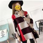 Turtleneck Color Block Long-sleeve Knit Top