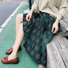 Print Accordion Midi Skirt