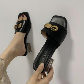 Faux Leather Block Heel Slide Pump