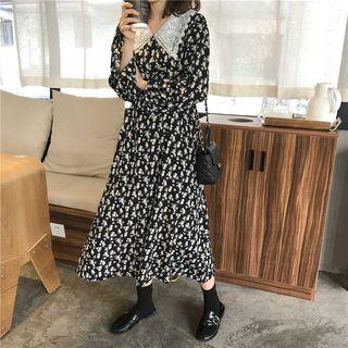 Lace Collar Floral Long-sleeve Midi A-line Dress Black - One Size