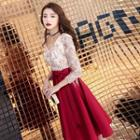 Elbow Sleeve Two Tone Lace Panel A-line Cocktail Dress / Evening Gown